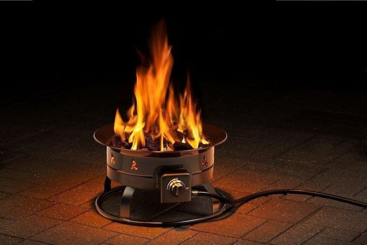 Firebowl on the patio--Propane-fueled, you can use this even if there is a burn-ban in effect.