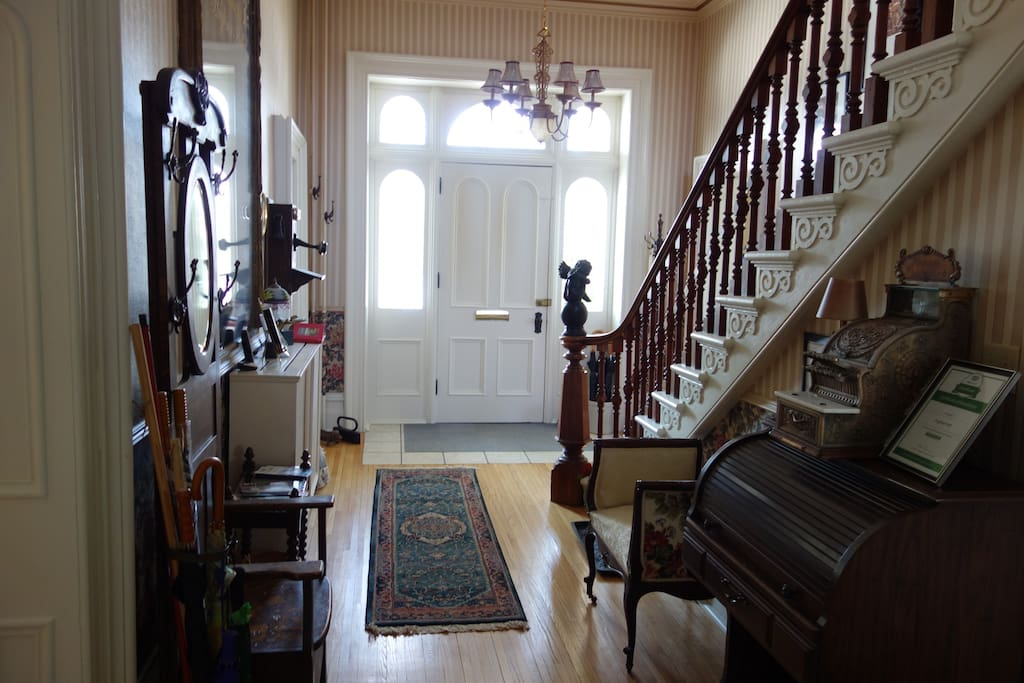 Inside the house at the front door is an area where the guests can pick up information about activities in the area.
