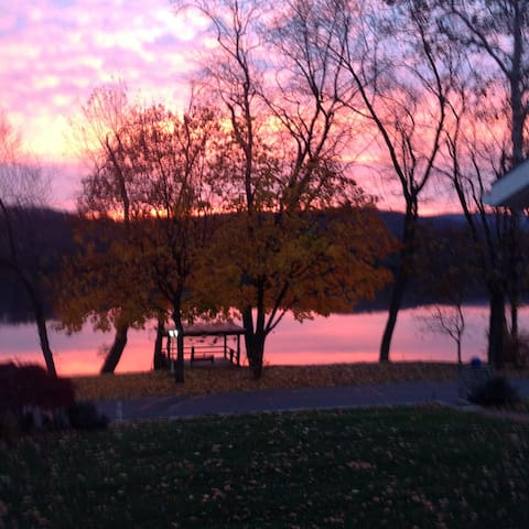 Sunrise  like a  fireball over the Susquehanna River.  You can sit on our river deck and watch the sunrise with your cup of coffee/tea. Just Gorgeous.