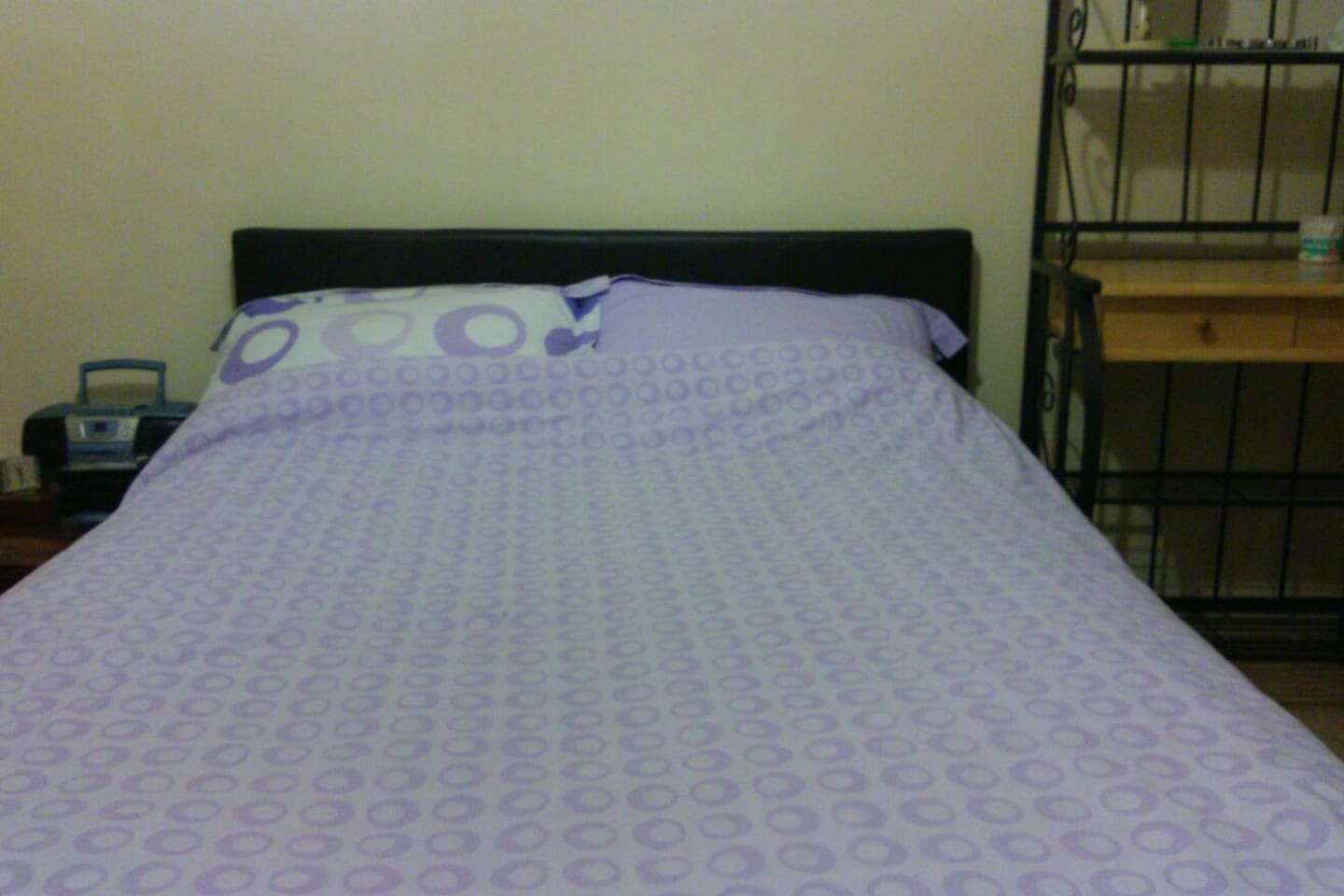 double bed, very clean,work space area.