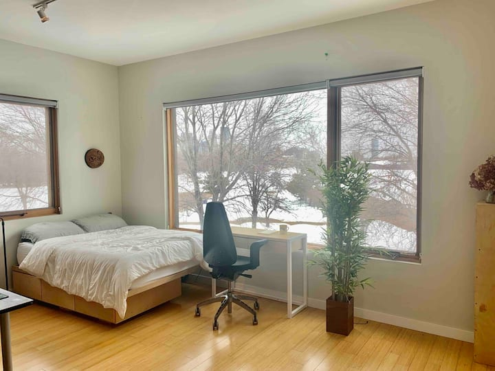 Cozy Master bedroom with view of downtown Mpls