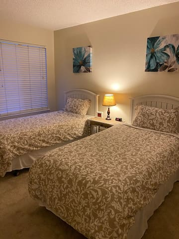 Bedroom # 2. Two twin beds with Simmons memory foam mattresses.