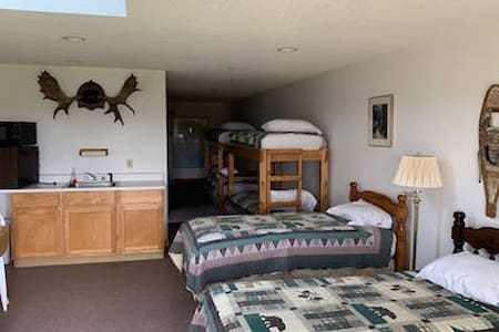 *Spacious room with 9 beds and a view! **