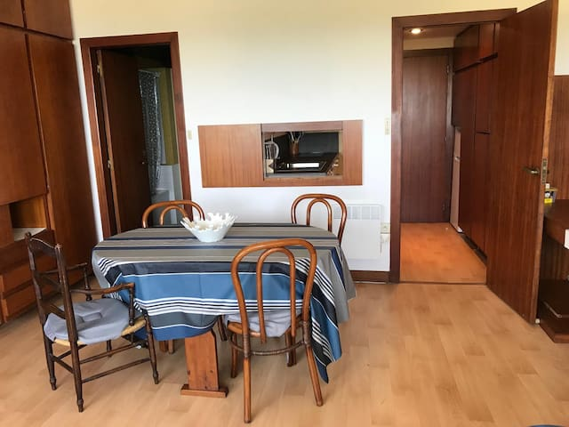 vue piece de vie salle de bain à gauche, cuisine/entrée à droite, fenêtres derrière
