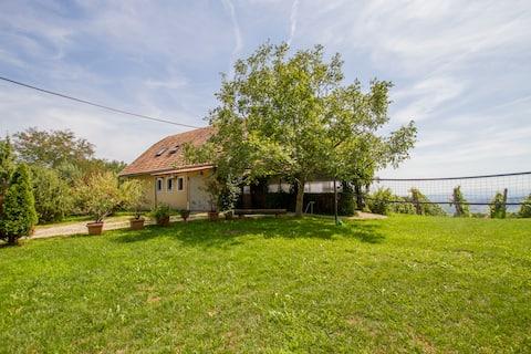 Grande casa de campo no meio do vinhedo.