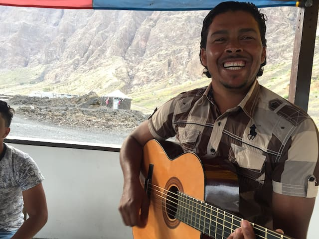 Favorite activity: MUSIC (Here mountain guide and excellent guitar player João Montrond who lives next to Casa Marisa and is a team member).