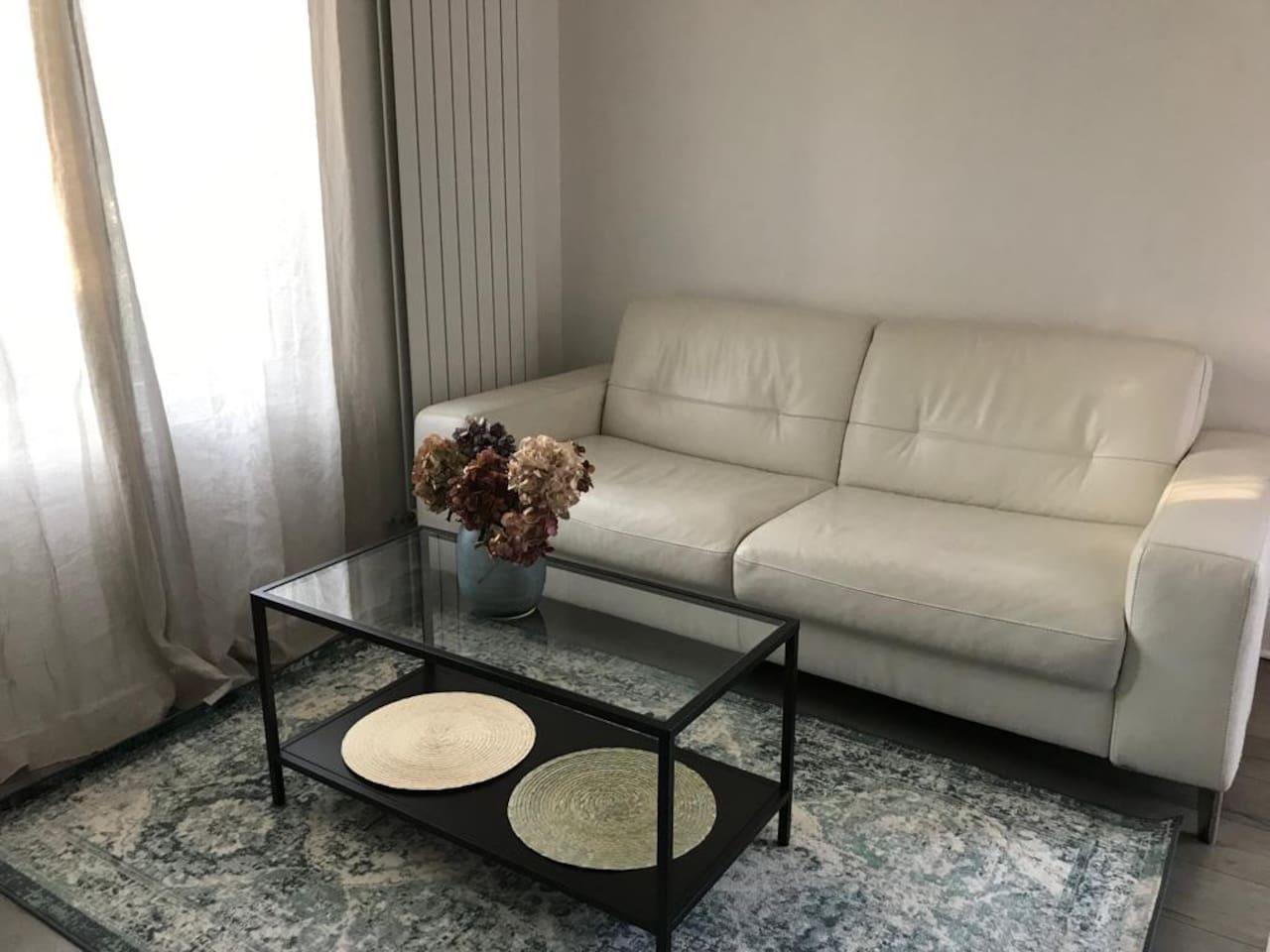 Espace séjour avec canapé 3 places convertible