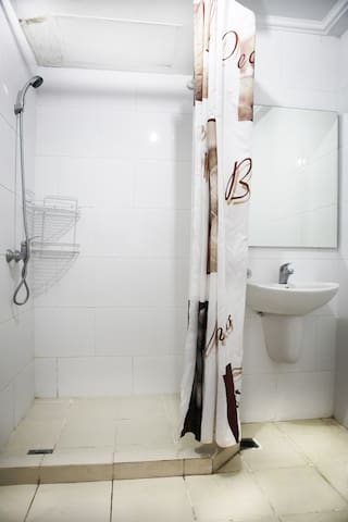 Bathroom with shower & water heater
