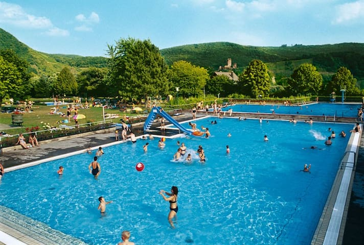 """Ellenz Outdoor Swimming Pool """" just a five-minute walk from the apartments """""""