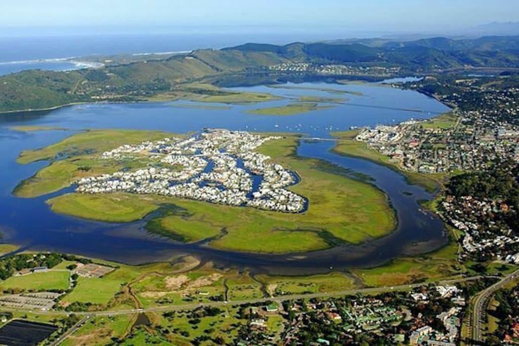 Aerial View of Thesen Islands in the Knysna Lagoon