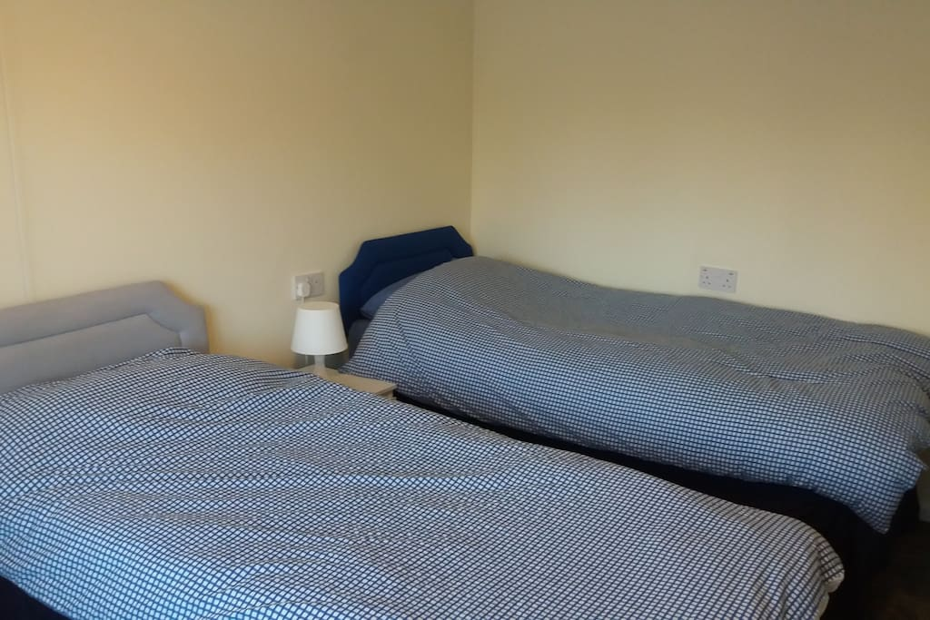 2 Single beds in the big bedroom, which can be pushed together, room for an extra cot or pull out bed if needed