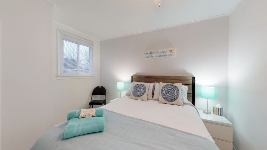 The Master Bedroom.  Clean, Light and airy.  A great place to relax and sleep after exploring the Niagara Region