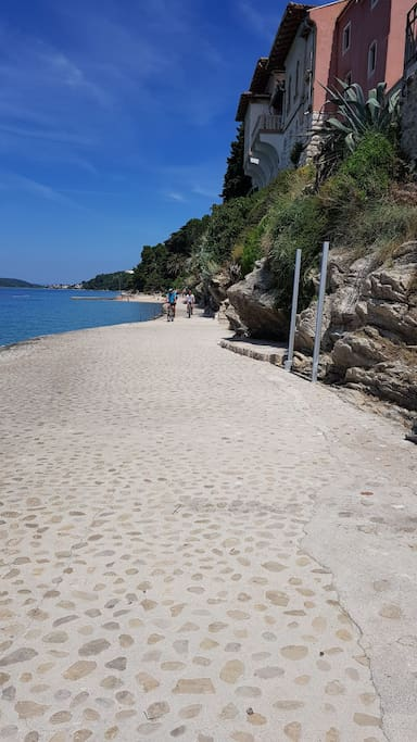 a beautiful promenade to the first beach where you can refresh yourself and drink some fine coffe