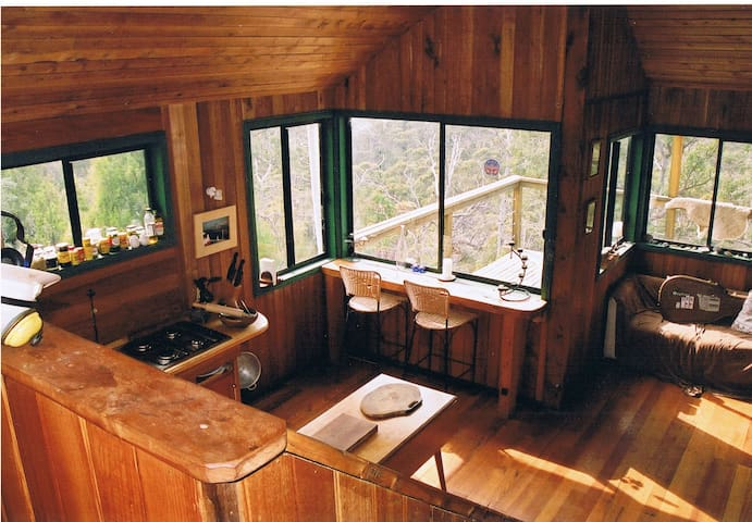 Recycled timber and open plan layout.