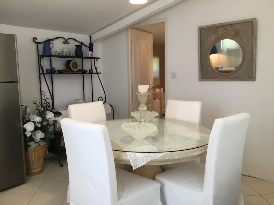 Own small dining area with fridge, kettle and sink