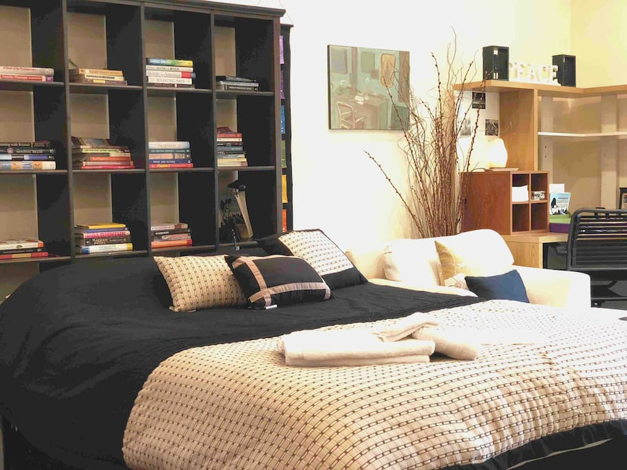 Comfortable queen bed, library with great books selection, extra large arm chair prefect for reading or relaxing, office/work area