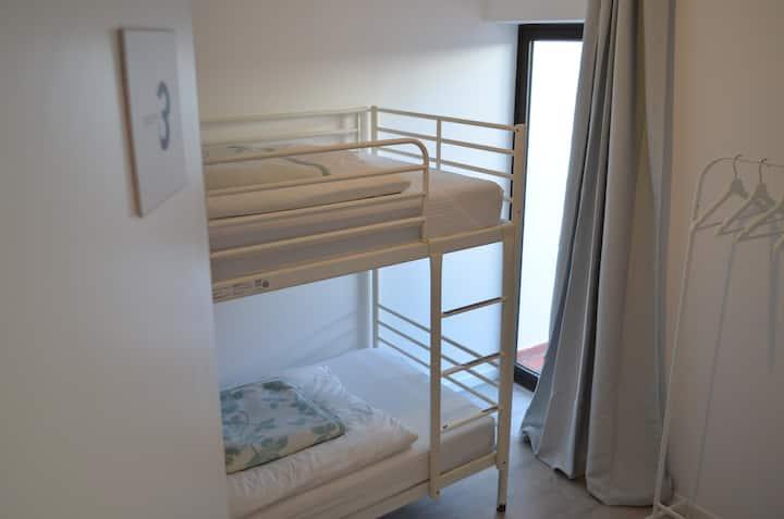 Twin Bunk Bed Room Shared Bathroom