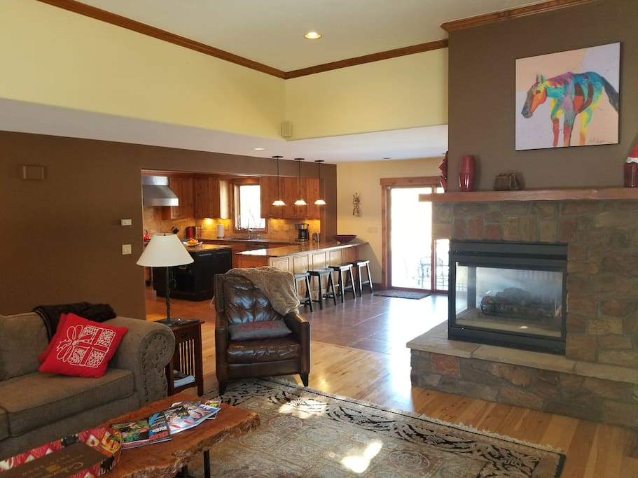 Living Room flows into the kitchen and dining room for full family entertainment!