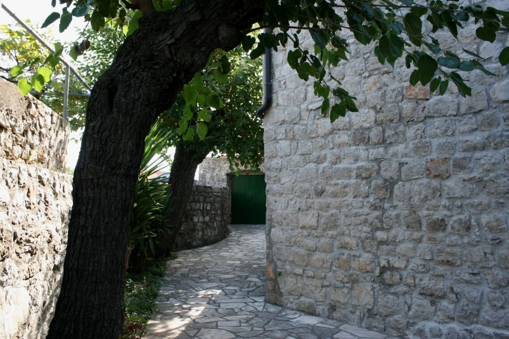 Private garden and entrance to Apartments Starcevic II
