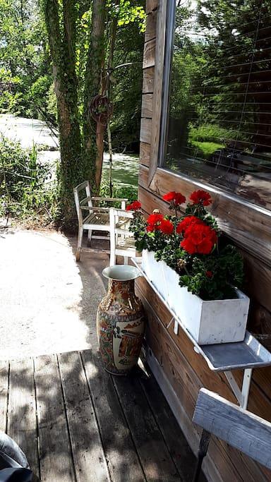 Terrasse et étang