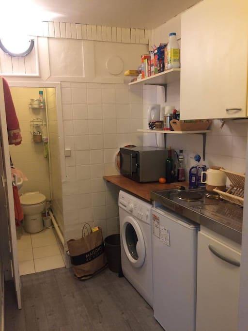 cuisine et salle de bain (douche)