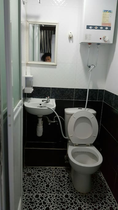 Attach bathroom with hot and cold water for shower.