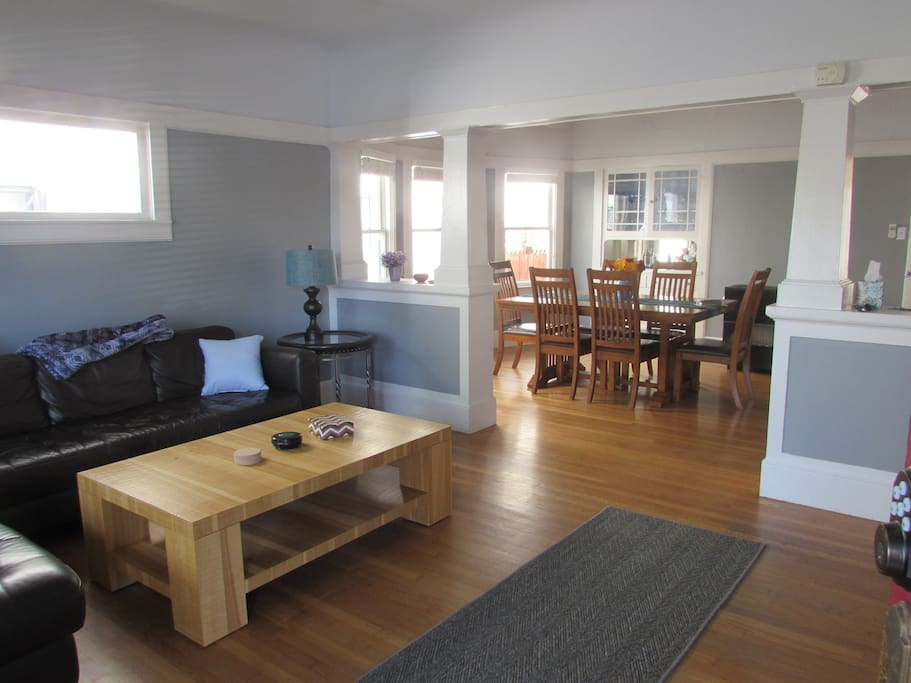 Open floor plan with comfortable leather couch.  Relax and listen to music or watch T.V.