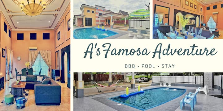 Comfortable up to 16Pax Afamosa Villa,BBQ,Pool,KTV