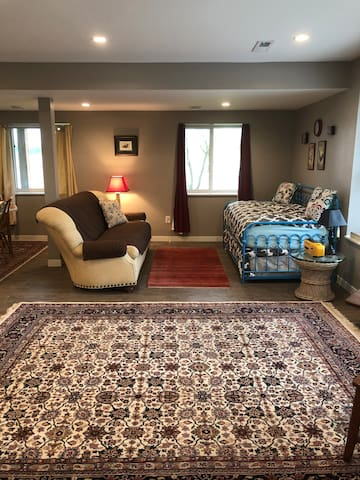 The garden level very much feels like a private and cozy space.  Persian rugs and a comfortable couch and wonderful trundle bed which sleeps two additional guests in twin beds.  This living space is an easy place to rest and relax.