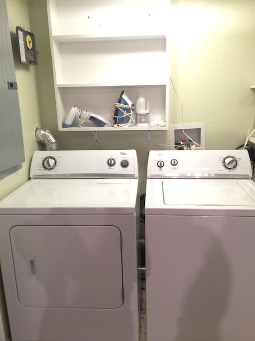 washer, dryer, ironing board, steamer access