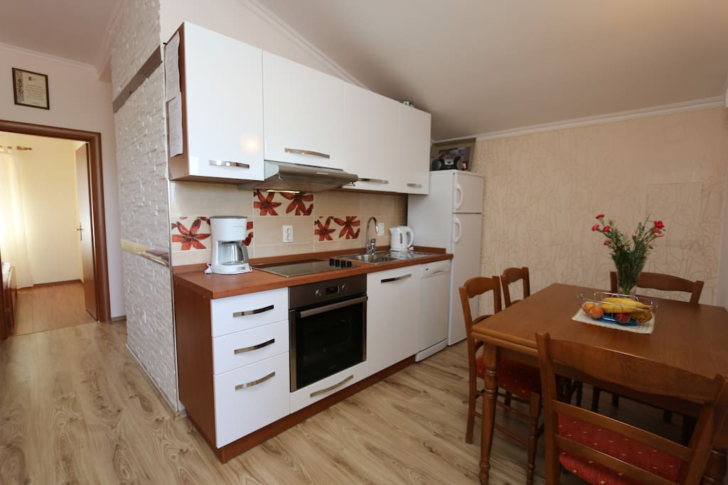 Wohnung 2 Küche und Blick zu Zimmer