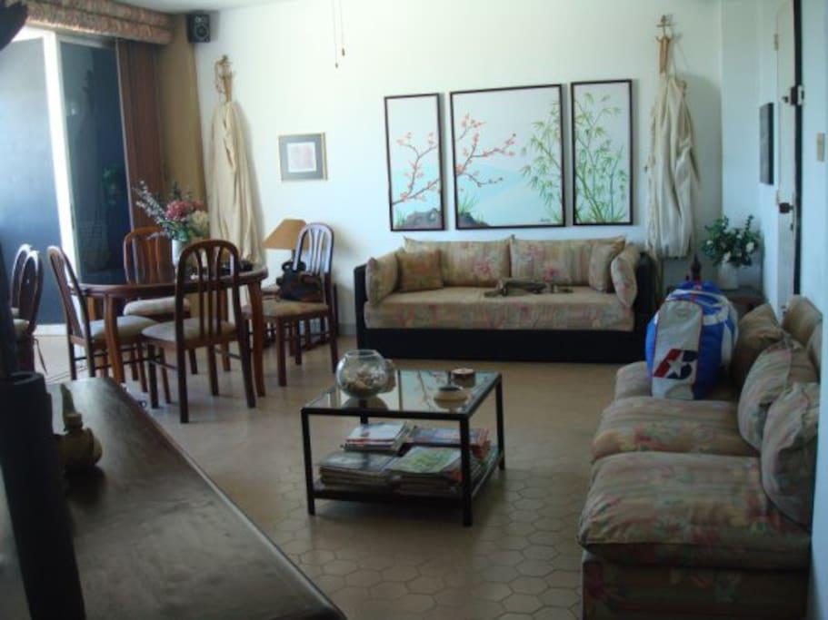 Sala interna del apartamento, con ventana panorámica que da hacia los Canales. Inmediato cocina.
