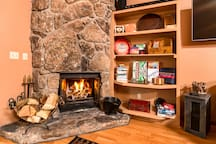 Fireside games ready to play, abundant natural wood provided to ensure long fireglow evenings