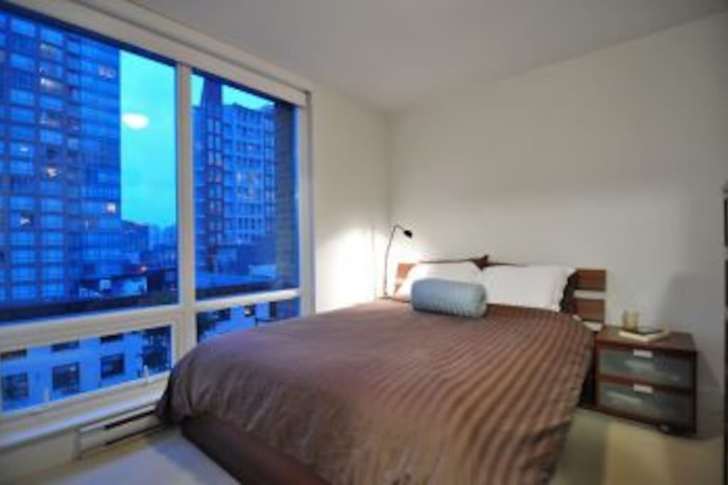 Cozy bedroom with Queen sized bed and city views!