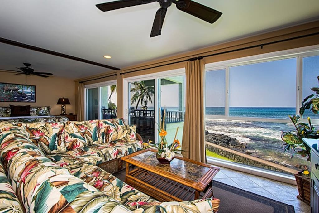 Oceanfront 32' of floor to ceiling glass - sit down views from most rooms.