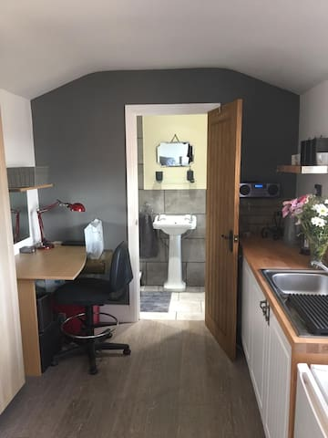 Bedsit with a private bathroom and kitchenette