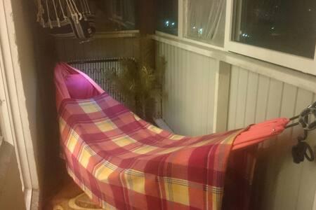 Hammock in roomy cozy balcony. - Новосибирск
