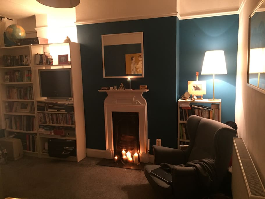 The cosy, colourful lounge in my eclectic home.