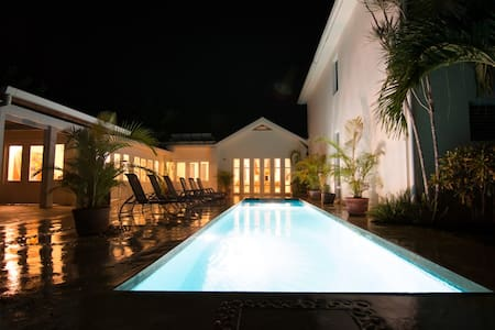 Luxury villa in tropical garden near beach