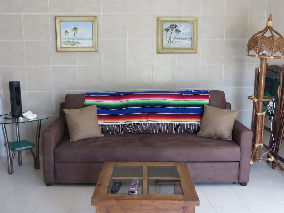 Living room sofa pulls out and a child or small adult could sleep on it.