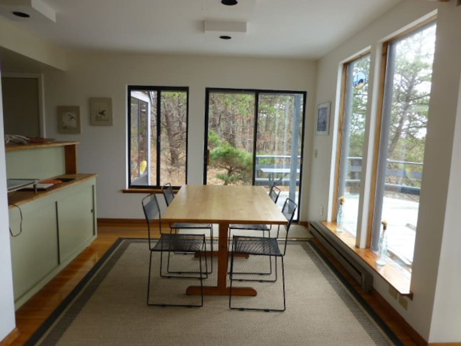 Dining room with large deck outside