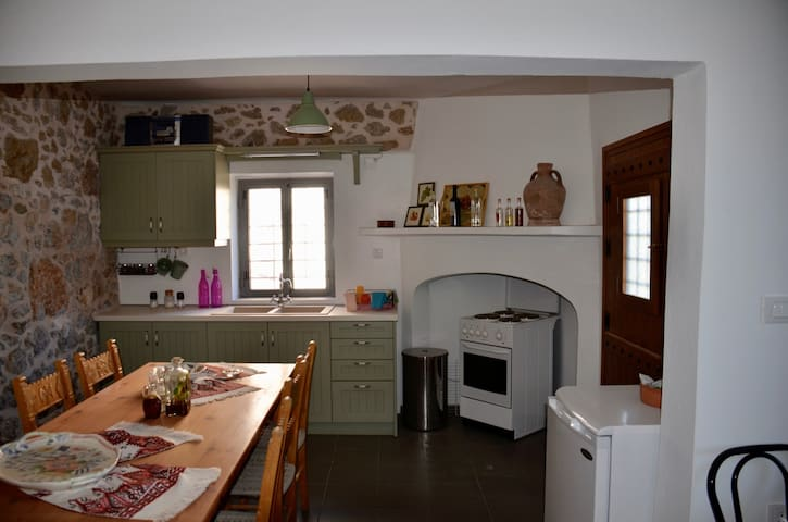 The kitchen and the dining table.
