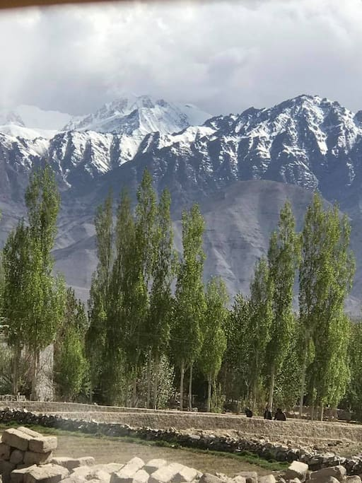 The view of Stok Kangri from the home