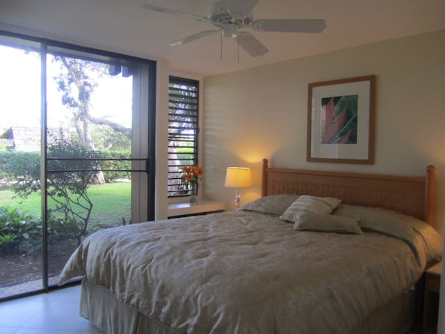 Bedroom on lower level with comfortable king bed and access to the garden outside.