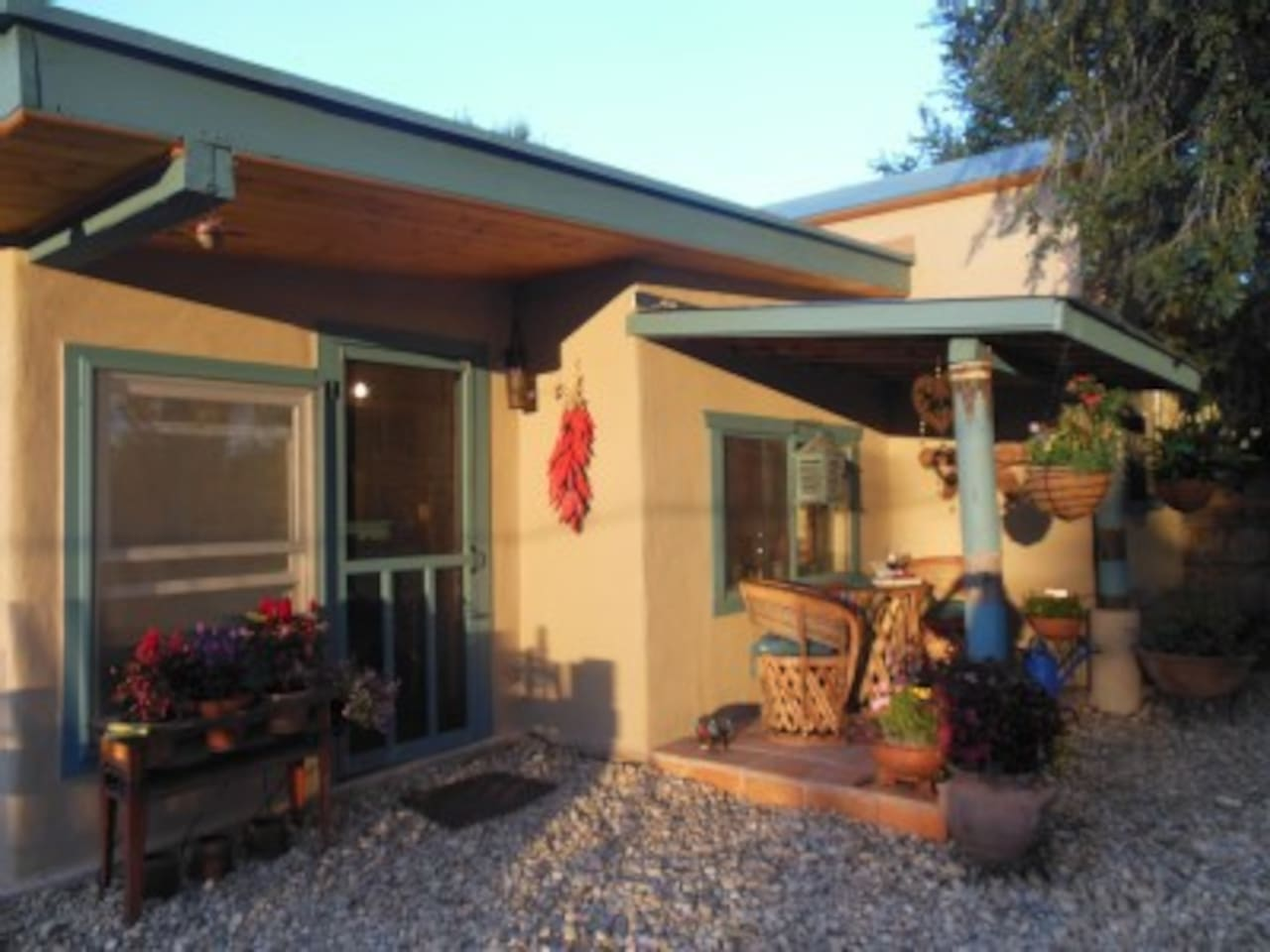 Front view of Casita Juliet at sunset