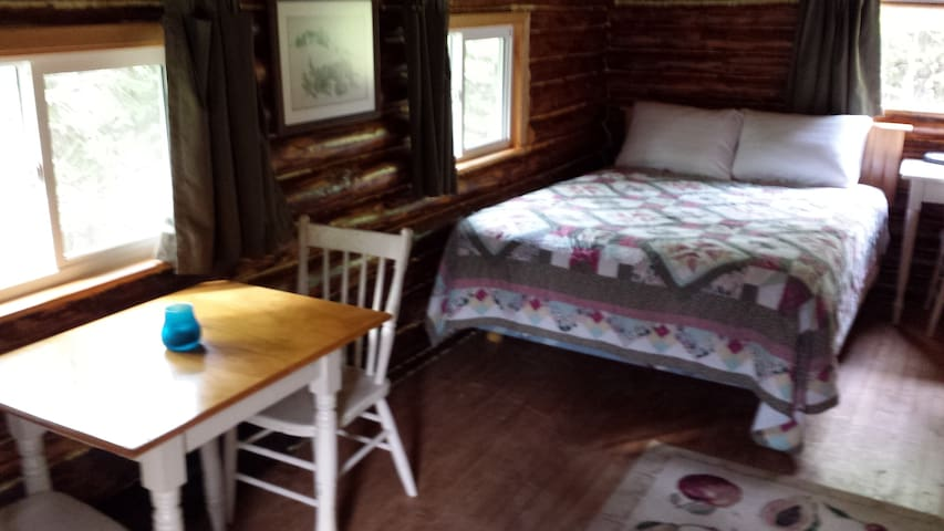 Cabin is small but equipped with table, bed, television, stove top, fridge and microwave.