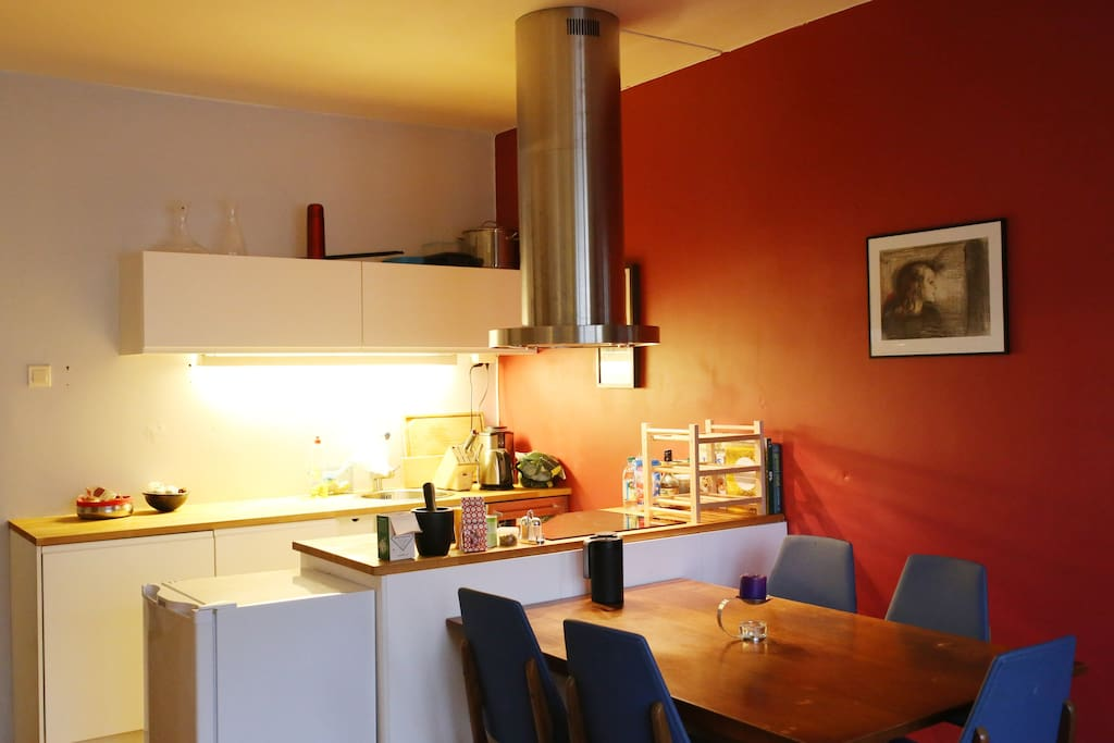 Open kitchen with large work-surface.