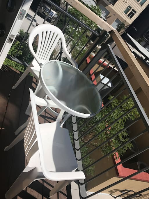 Patio chairs + table for your use