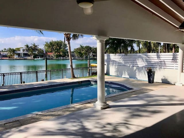 waterfront pool home in Surfside