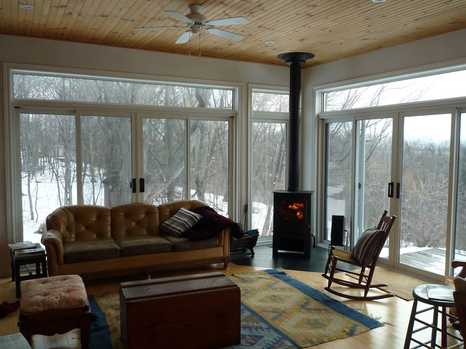 Wood Stove in Lakefront Sitting Room